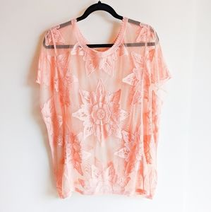 Entro Embroidered Floral Lace Tunic Cover-up